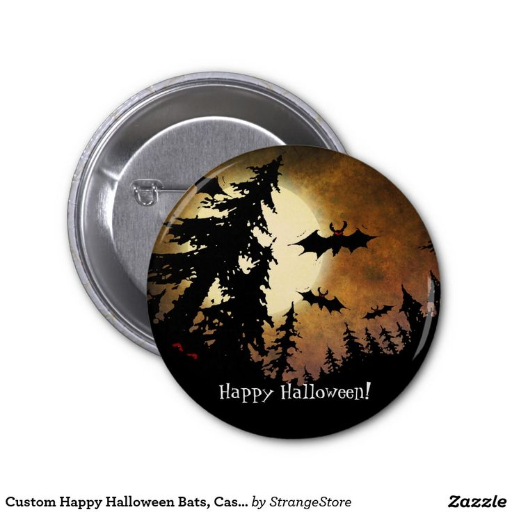 Custom Happy Halloween Bats, Castle and Moon 2 Inch Round Button