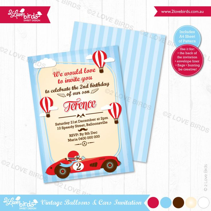 VINTAGE CAR PRINTABLE INVITATION Personlised with your text! / DIY Print / No shipping! / A6 size / A4 sheet of pattern included #2loveBirds #printable #invitation #birthday #stationery #vintagecar #vintageballoon
