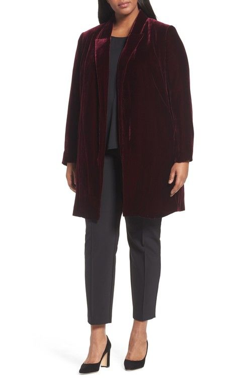 Main Image - Lafayette 148 Naveah Long Velvet Jacket (Plus Size)