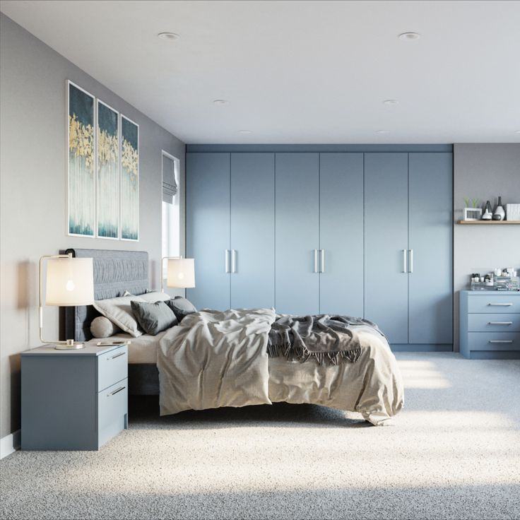 Denim Blue Fitted Wardrobe in 2020 | Blue fitted wardrobes ...
