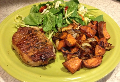 Fast Paleo » Orange Molasses Pork Chops with Skillet Roasted Sweet Potatoes - Paleo Recipe Sharing Site: Fall Meals, Ground Beef, Paleo Primal, Roasted Grill, Molasses Pork, Roasted Sweet Potatoes, Paleo Recipes, Pork Chops, Orange Molasses