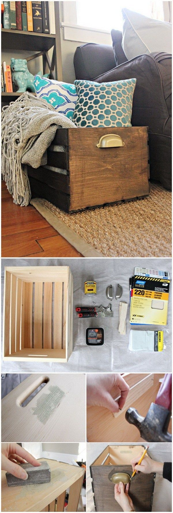 DIY Wooden Storage Crate. Another easy weekend project for your living space! Pe…  – Home Ideas