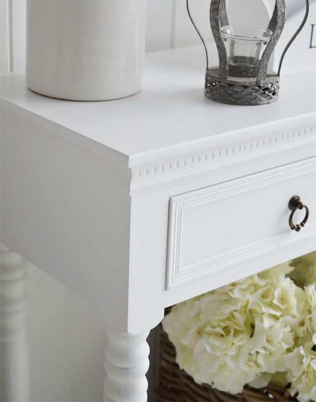 close up of new england white furniture a white console table for the hall or - White Sofa Table