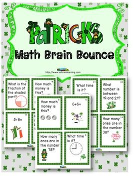 ST. Patrick's Day Brain Bounce game by SOL Train Learning is like our popular Candy Brain Bounce. It helps your kids practice addition, subtraction, greater than, and less than, place value, money and clocks and we added fractions. This great math game is one of our new Brain Bounce games that facilitate ELA and Math skills for your kids. You can also use these cards in a math center or as a Scoot game.