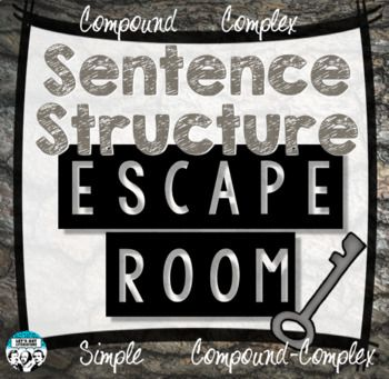Students will review simple, compound, complex, and compound-complex sentences, as well as fragments and run-ons in this sentence structure escape room that contains 64 sentences on 16 task cards. This product IS included in my escape room bundle: Secondary English Escape Room Bundle