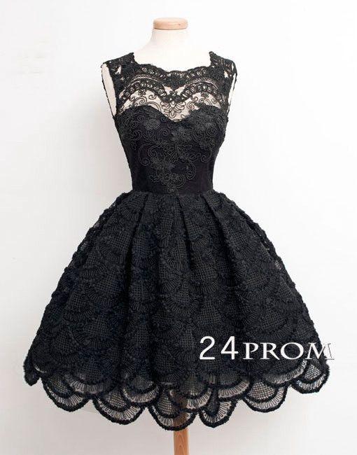 Round neckline Black Lace Short Prom Dresses, Homecoming Dress, short prom dress,formal dress #24prom #promdress #promdresses