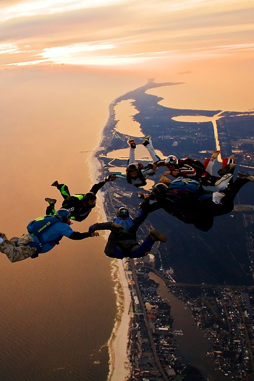 7 way sunset load over the Florabama #skydiving #sky #diving.  Did this once, but I'm going to do it again.  Sorry, Matt, you knew you were marrying a crazy Swede!