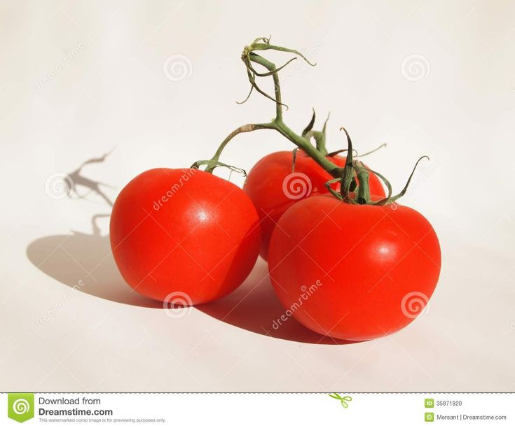 Some fresh tomatoes on white background