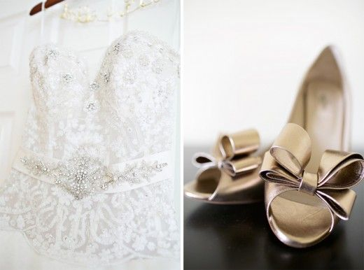 Love the gold bows!Design Ideas, Dresses Shoes, Real Wedding, Gold Bows, Glasses Slippers, Heart Photos