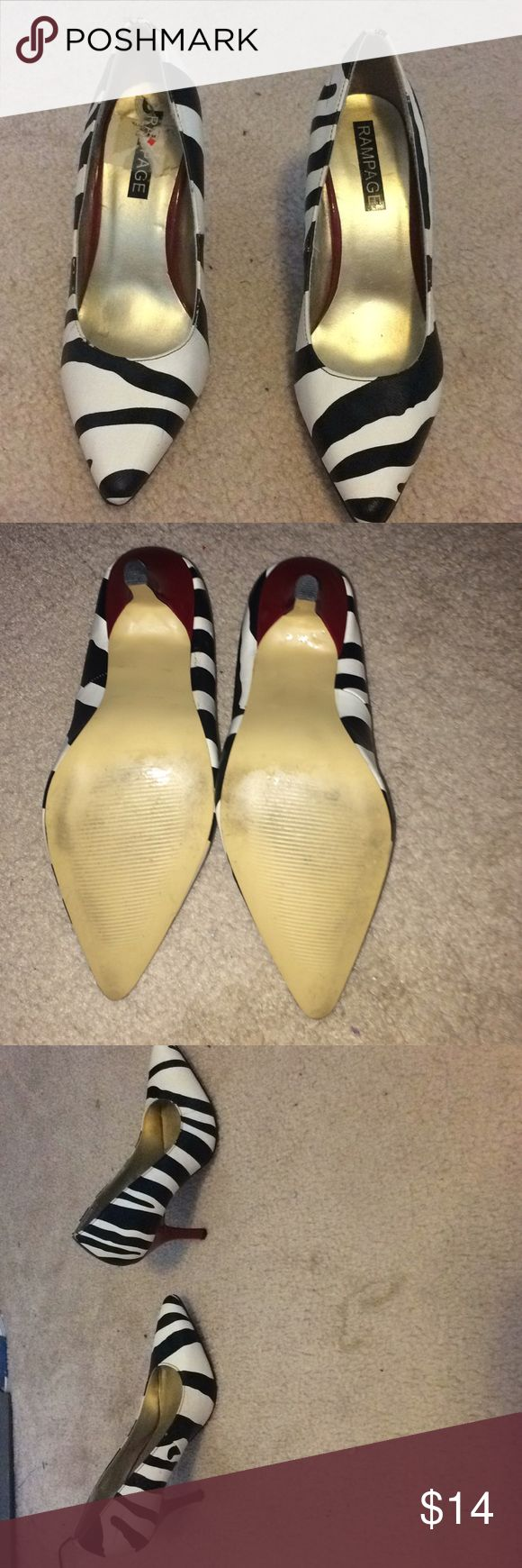 Red heeled zebra heels They are in Good condition other than the marks! Feel free to offer! Lmk if you have any questions! Rampage Shoes Heels