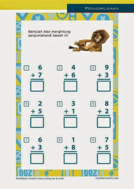 belajar penjumlahan angka 1-10 untuk SD kelas 1 bersama alex si singa
