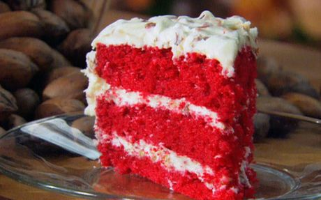 Red Velvet Cake - the contrast between bright red cake and white frosting makes an exciting pop!