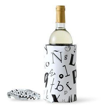 KIH/Duo ボトルクーラー&コークスクリュー Letters 6090yen ボトルに巻くだけで、ワインをひんやりキープ!