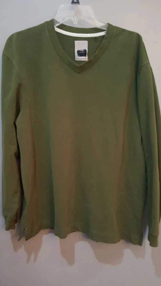 #AshworthGolf Green V-Neck Sweatshirt Pullover Kings & Commoners Stitching Large #Ashworth
