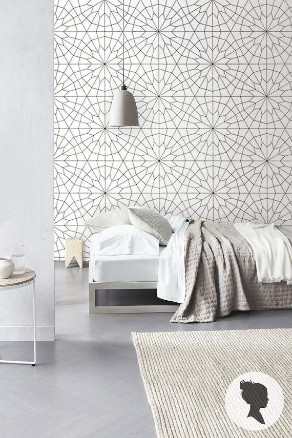 Geometric Flower Pattern Self Adhesive Vinyl Wallpaper by Livettes.