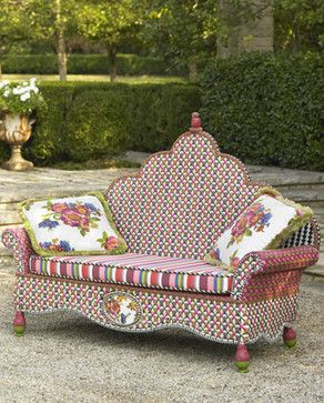 "With a colourful wicker bench like this you almost don't need flowers in the garden. ""Flower Market"" @ Neiman Marcus"