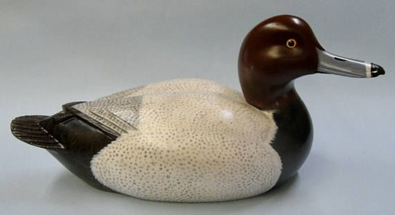 Red head duck decoy carving