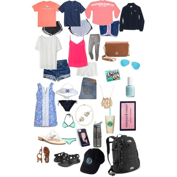 Summer packing list by taylorbenson on Polyvore featuring polyvore, fashion, style, Vineyard Vines, Chicwish, maurices, Abercrombie & Fitch, NIKE, Jack Rogers, Chaco, Steve Madden, Tory Burch, The North Face, Belpearl, BaubleBar, Ray-Ban, Lilly Pulitzer, J.Crew and CamelBak