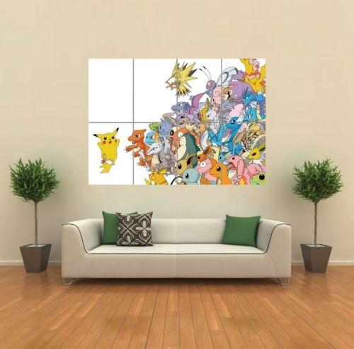 pokemon pikachu art print poster picture giant huge g939