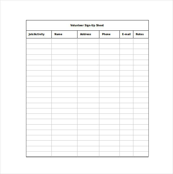 Sign Up Sheet Templates Sign In Sheet Template Templates