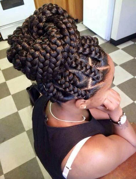 Jumbo Box Braids into a High Bun