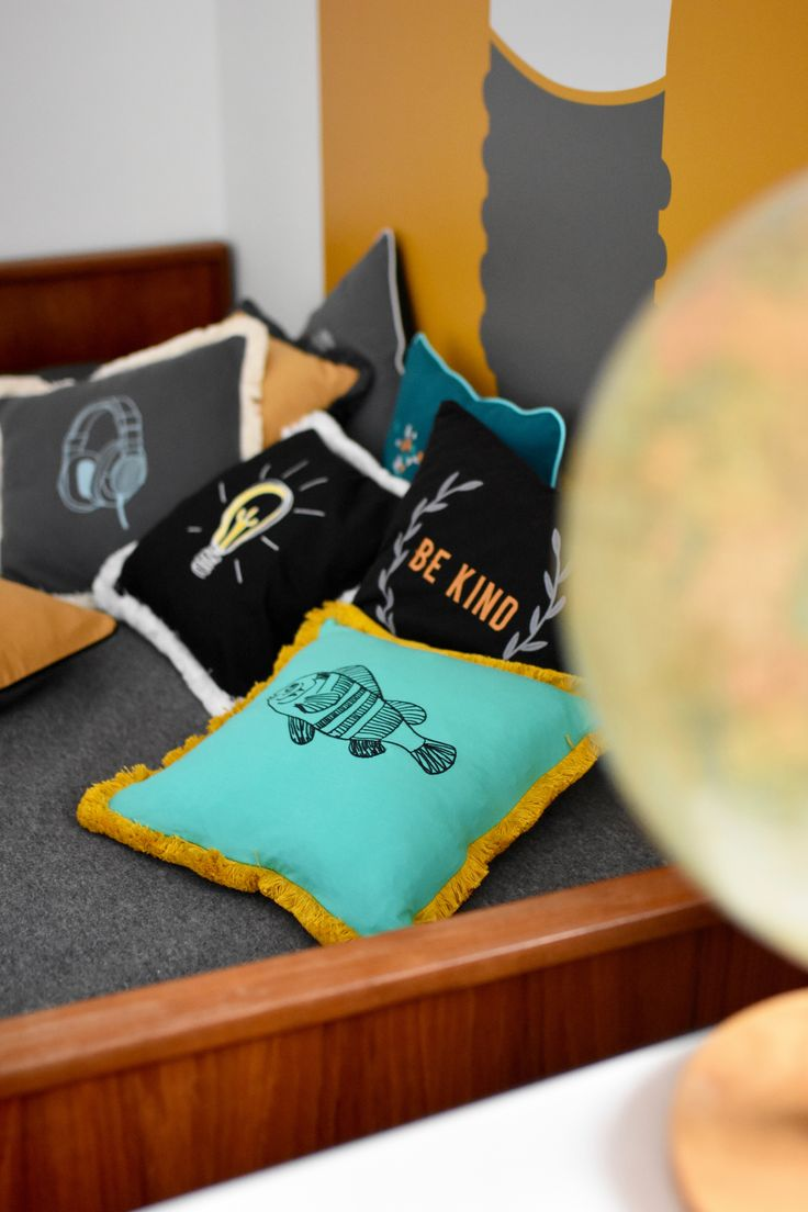 Embroidered fish cushion. Anything you need for boys corner by NUKI