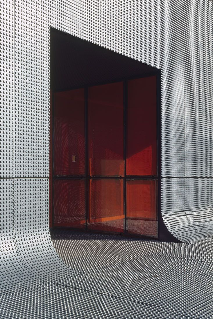 RATP Bus Center in Thiais by ECDM.  RATP Bus Center in Thiais by ECDM.  Truncated dome facade with cove base.  Glass slits with #Color