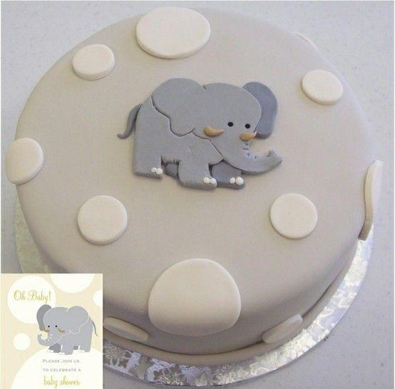 Grey elephant cake.
