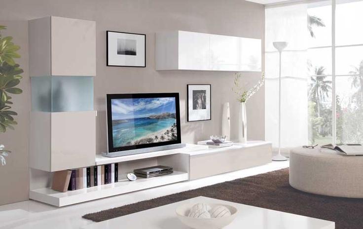 Librería SALER 300 cm combinada en blanco y arena, disponible también en   nogal, ceniza o wengué. 499€