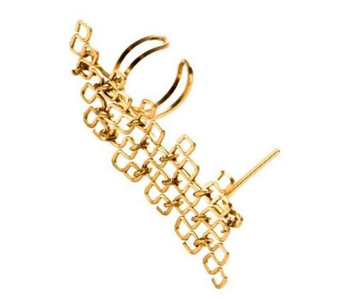 Armor Cuff Earring By Boe Two inches of armor cascade down your ear secured by the cuff at the top and your earring hole at the bottom.