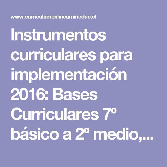 Instrumentos curriculares para implementación 2016: Bases Curriculares 7º básico a 2º medio, Bases Curriculares Técnico Profesional y Programas de Estudio - Currículum en línea. MINEDUC. Gobierno de Chile.