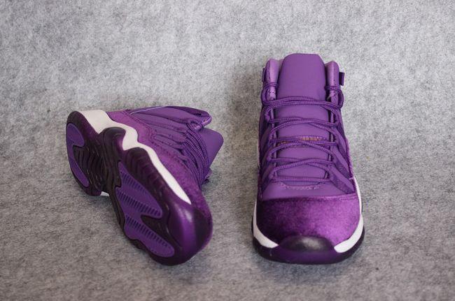 """Woman's Air Jordan 11 GS Velvet """"Heiress"""" Basketball Shoes Purple Gape/White"""