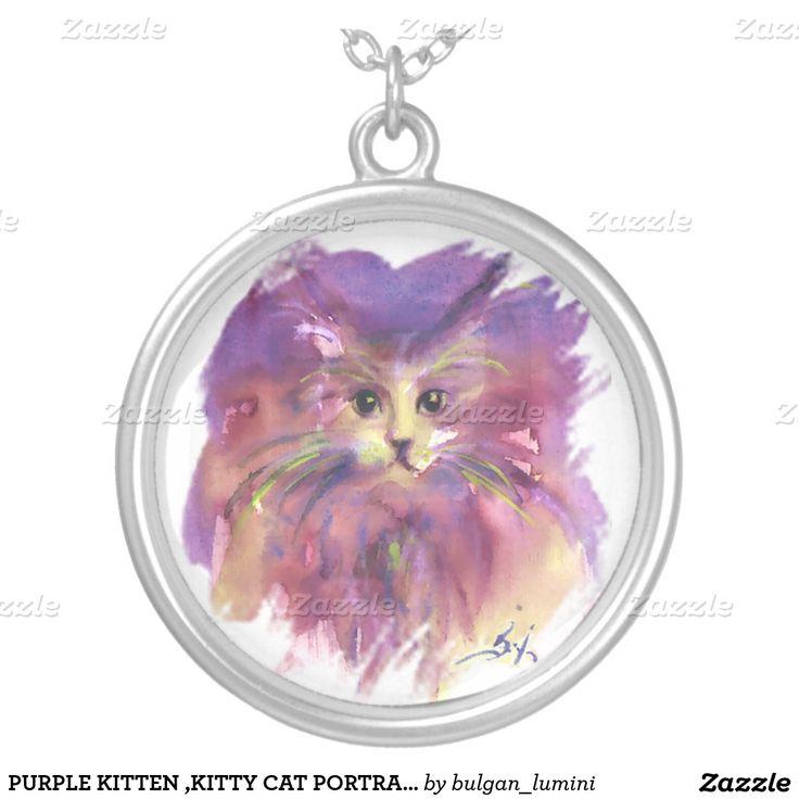 PURPLE KITTEN ,KITTY CAT PORTRAIT ROUND PENDANT NECKLACE