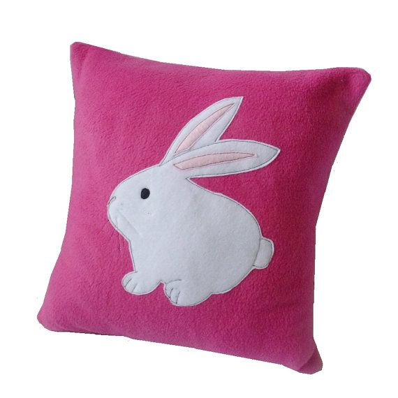 Pink Bunny cushion cute fleece rabbit cushion applique pillow