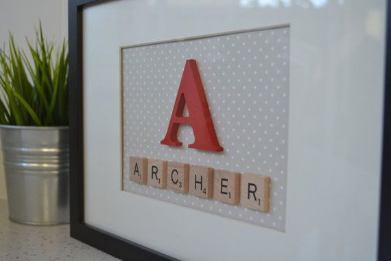 Personalised Scrabble Name Frames. Great idea for a new born baby gift!