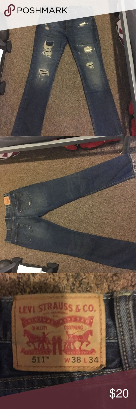 511 distressed Levi's Distressed Levi jeans. Style 511. Only worn once. Levi's Jeans Slim