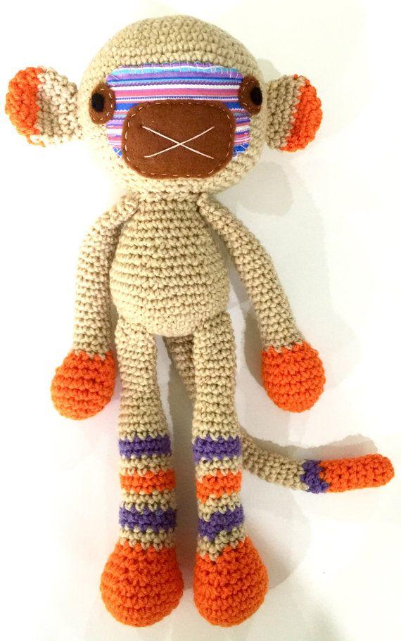 Aap klaar voor schip gehaakte aap Toy aap door WhiteStorkCreations