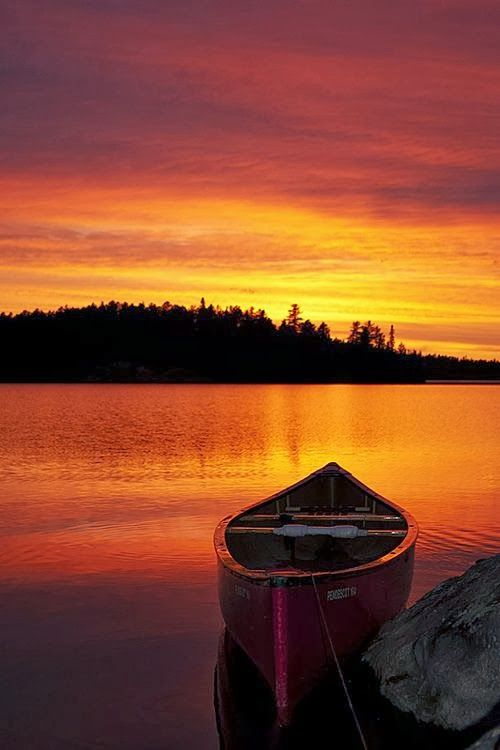 The ultimate Northern Ontario scene! Imagine.....A full day of canoeing....find a campsite for the night......set up site......prepare meal and enjoy this view for dessert!