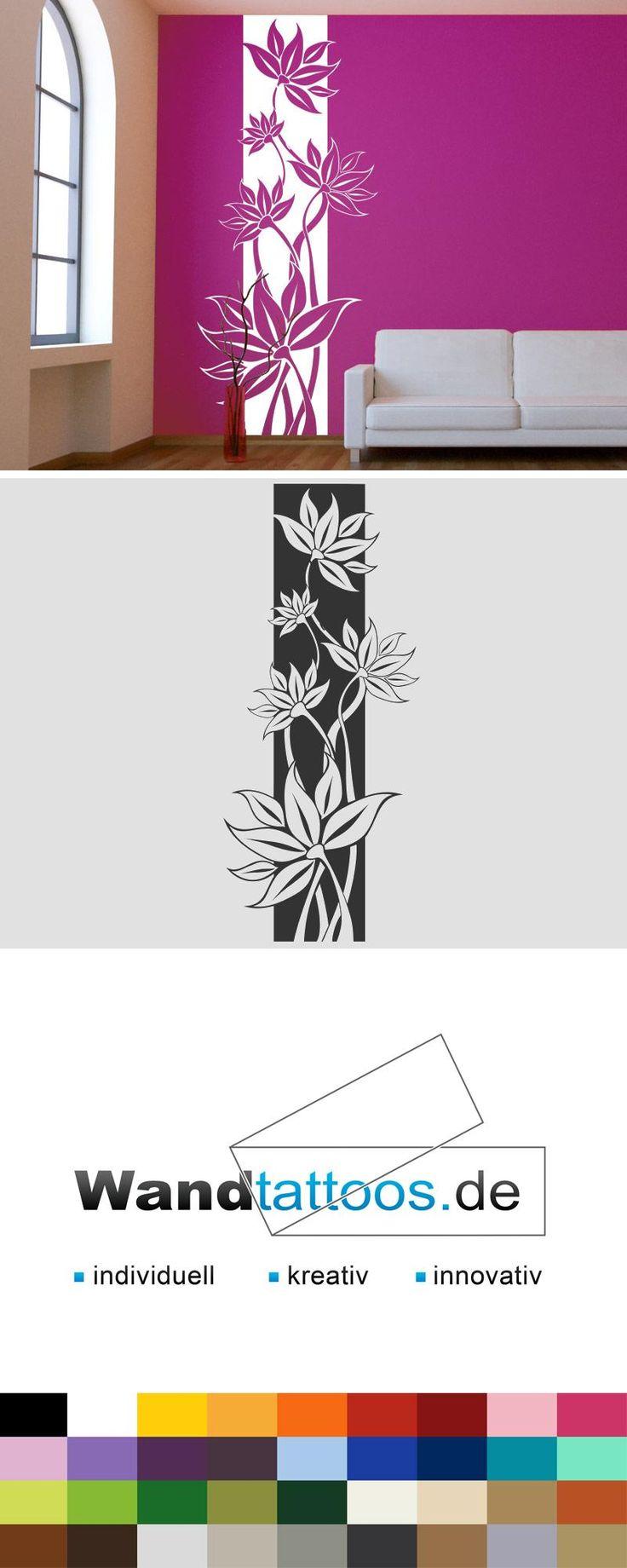 Unique Wandbanner Blumenranke Wandtattoo raumhoch