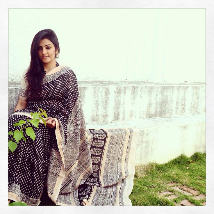 Black bagh hand block print maheshwari woven sari