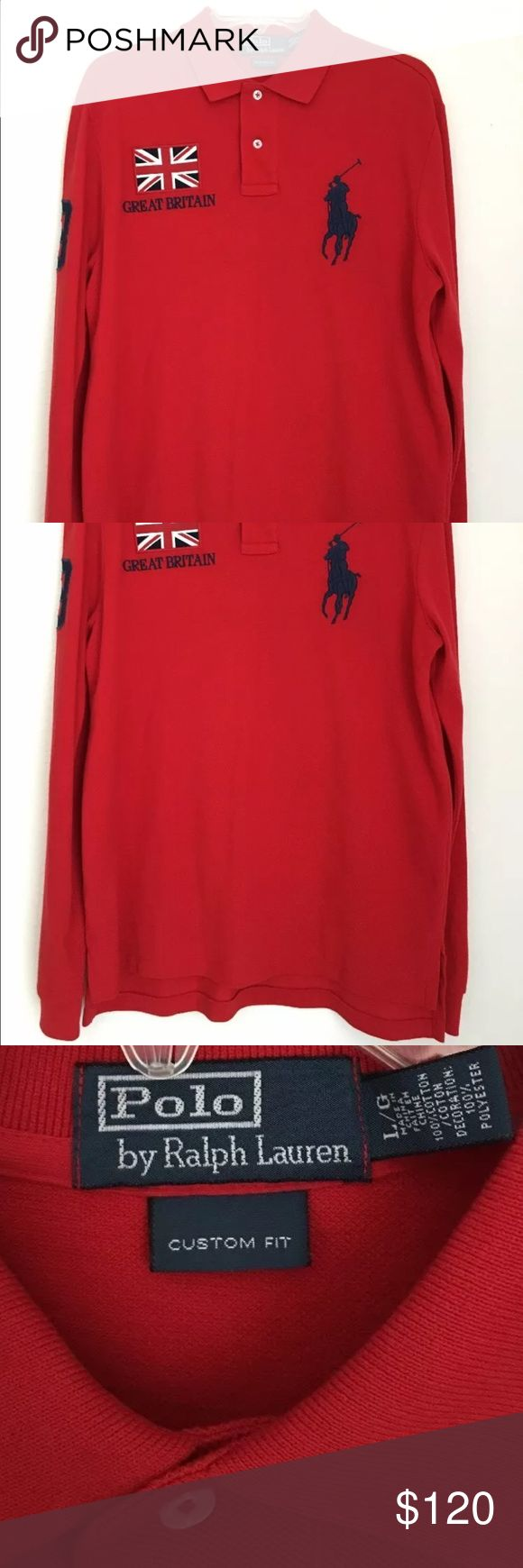 Men's Polo Ralph Lauren Great Britain Flag Custom fit, Big Pony Polo by Ralph Lauren Shirts Polos