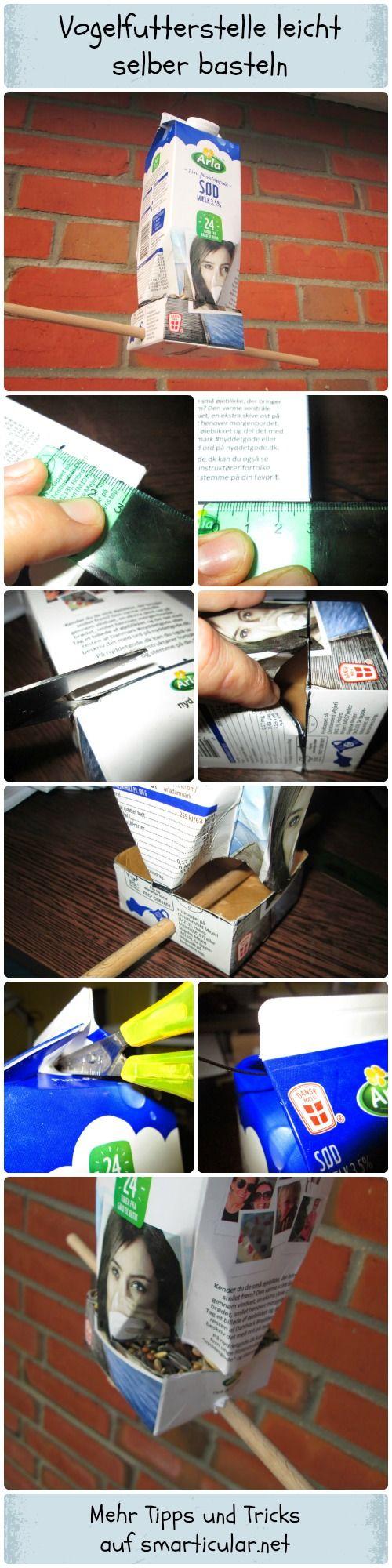 Ein Vogelhäuschen aus Milchkartons oder Saftkartons einfach selber basteln.  #Vögel #vogelhaus #tetrapak #smarticular