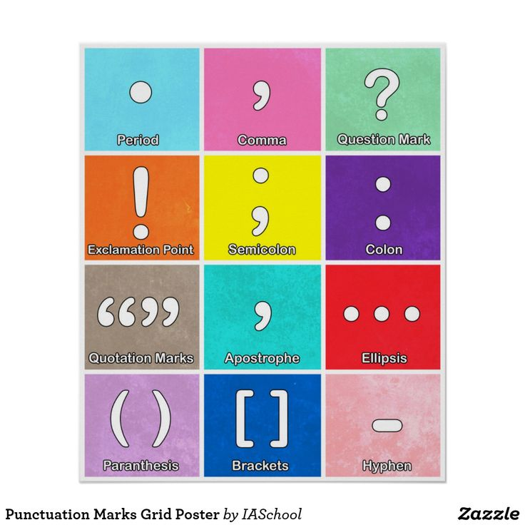 Punctuation Marks Grid Poster Classroom PostersClassroom IdeasArt