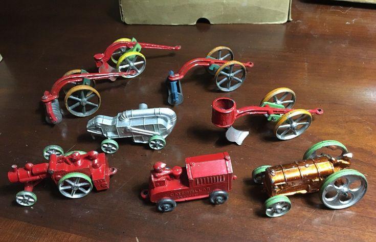 Kansas Slush Metal Toys Farm Tractor Implements Set like Tootsietoys MINT