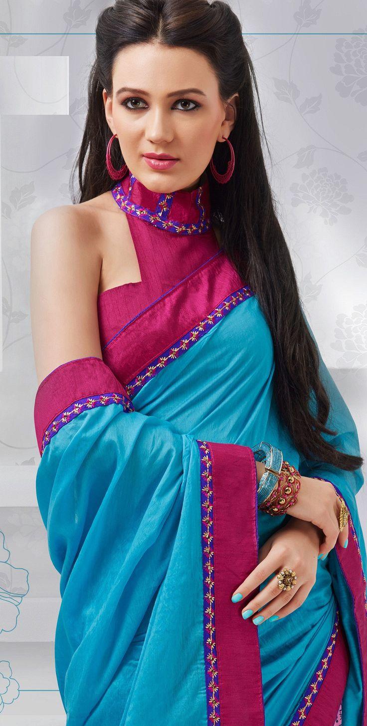 Blue Pink Printed Art Silk Saree
