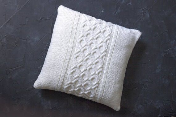 Knitted pillow case Hand knitted White cushion cover Milky