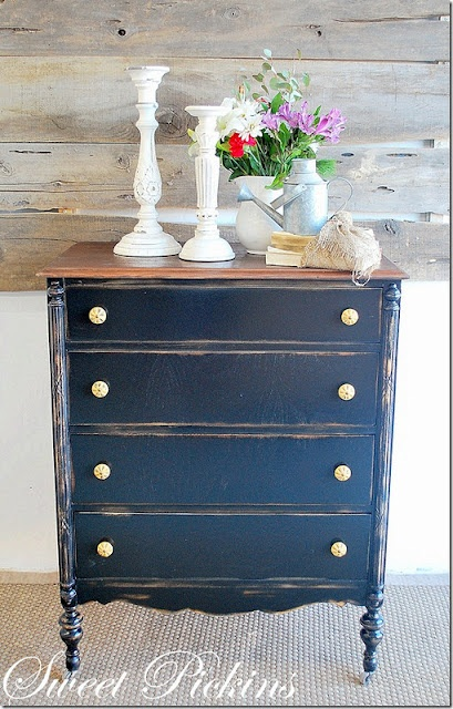 Black distressed dresser.