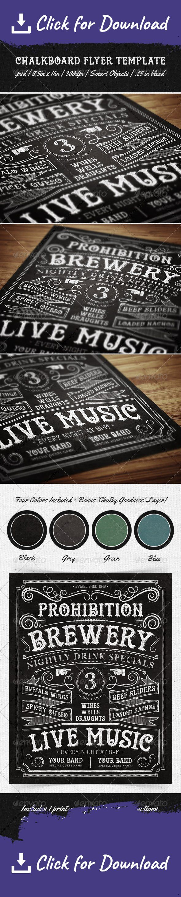 band, banner, bar, beer, black, blackboard, blue, brewery, chalk, chalkboard, club, drink, event, flyer, gray, green, hand drawn, illustrated, music, ornaments, party, promo, promotion, restaurant, specials, template, vintage, wedding Use this hand-illustrated, 8.5in X 11in chalkboard flyer template to promote your bar, brewery, restaurant, band, barbecue, etc. You can even use this as a unique wedding invitation or greeting card. The possibilities are endless!   This Photoshop file has…