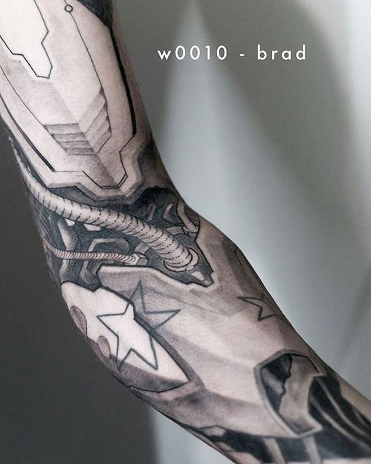 black and grey cyborg sleeve tattoo idea | Tattoo Ideas ...