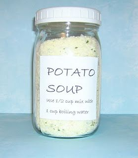 Homemade Potato soup mix. Just add water! Keep it in the house for those lazy days ;)